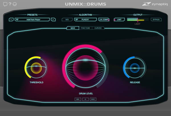 Zynaptiq UNMIX::DRUMS Plug-In Main View Screenshot