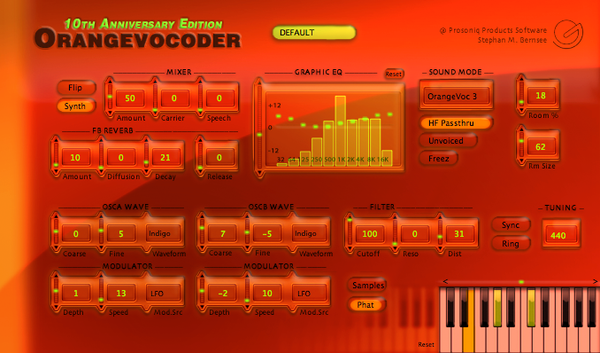 Zynaptiq ORANGE VOCODER AU Plug-In Screenshot