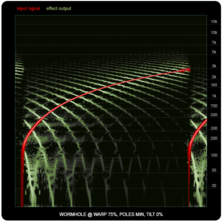 WORMHOLE compared to ring-modulators and frequency shifters, illustration eight: WORMHOLE, 75% warp.