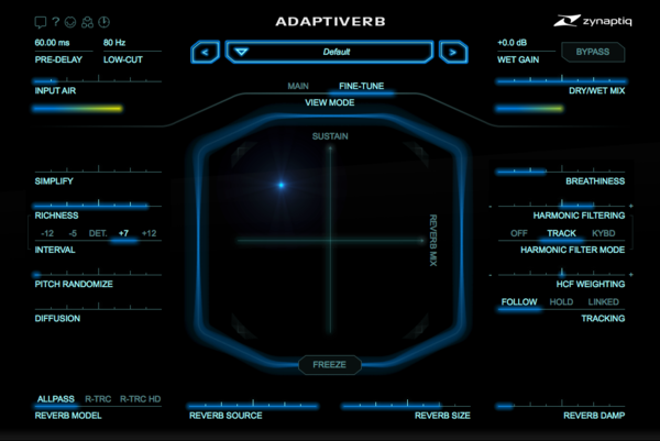 Zynaptiq ADAPTIVERB Plug-In GUI Fine-Tune View  Screenshot