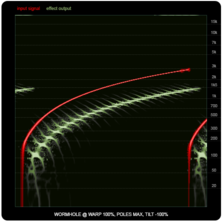 WORMHOLE compared to ring-modulators and frequency shifters, illustration twelve: maximum WARP with maximum Poles and -100% Tilt.