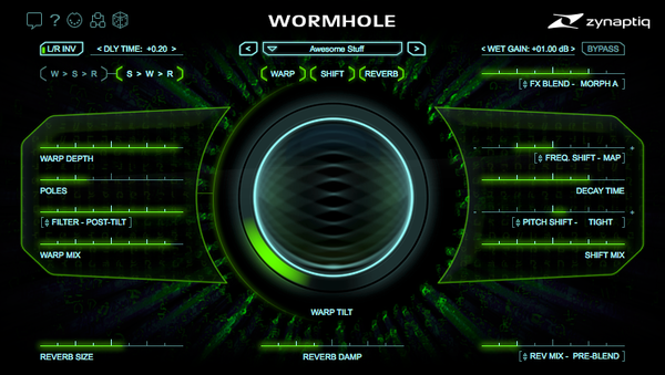 Zynaptiq WORMHOLE Plug-In GUI Screenshot