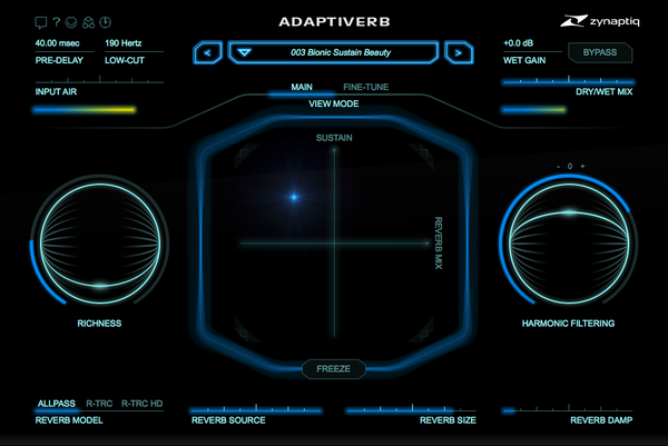 Zynaptiq ADAPTIVERB Plug-In GUI Main View  Screenshot